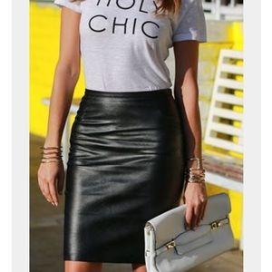 • ZARA • NWT Black Faux Leather Pencil Skirt • XS